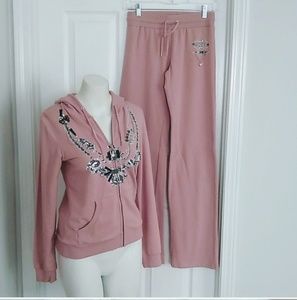 Bcbgmaxazria two piece jogging suit pink nwt